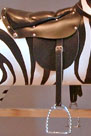 Traditional Wooden Rocking Horse Zebra saddle detail from The Ringinglow Rocking Horse Company